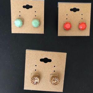 Stella & Dot Stud Earrings - set of 3